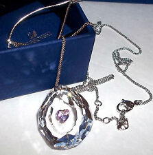 $160 SWAROVSKI 1119265 CRYSTAL NEON PINK Floating HEART PENDANT NECKLACE