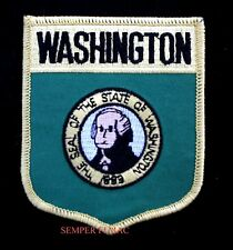 WASHINGTON STATE FLAG EMBROIDERED IRON ON SHIELD PATCH WA SEATTLE PRESIDENT WOW