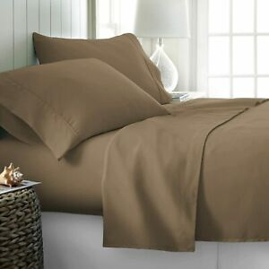 800 Thread Count 100% Egyptian Cotton Sheet California King Taupe Sheets Set, 4-