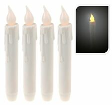 Set of 4 Ivory Candles Battery Operated Flickering Candles Ivory Dinner Candles