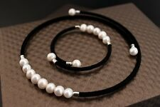 Natural Pearl Statement Necklace Bracelet Charm Jewelry Set For Women