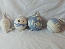 Lot of 4 White & Blue Icon Wedgewood Christmas Ornament Jasperware Angels