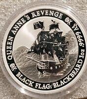 BLACK FLAG BLACKBEARD QUEEN ANNE'S REVENGE  2019 1 OZ .999 SILVER COIN TUVALU