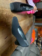 Stuart Weitzman Womens Black Fabric Chunky Heel Square Toe Pumps Shoes  7.5 AA