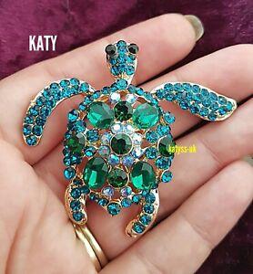 Green Blue Crystal Turtle Tortoise Gold Tone Brooch Pin Vintage Look Broach Gift