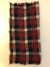 ZARA Soft Tartan Plaid Check Blogger Knit Shawl Scarf Wrap Red Navy Oversized