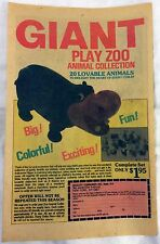 1979 - GIANT PLAY ZOO Animal Collection Ad (Hippo)