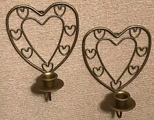 Homco Home Interiors Two Heart Sconces Gold Metal Candle Holders Vintage Wall
