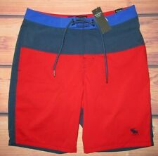 MENS ABERCROMBIE & FITCH RED BLUE LINED SWIM BOARD SHORTS SIZE 28