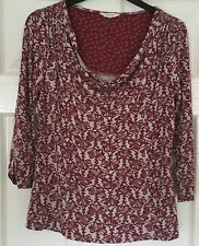 WHITE STUFF Size 12 Grey and Red Stretch Top with selvage neckline - stretch