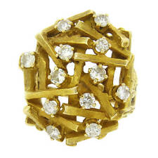 14k Gold Dome Cocktail Ring 1970s Sticks and Stones Diamond
