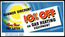 Vintage Ink Blotter Gas Heating Equipment 10% Off Summer Discount Advertising