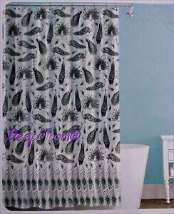 SPLASH BATH SHOWER CURTAIN PEVA VINYL - PEACOCK - BLACK 70 x 72 NIP NEW