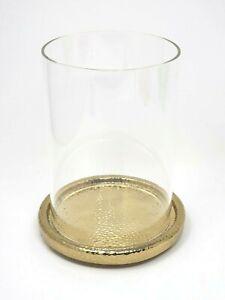 AERIN Tulln Mini Glass Hurricane Candle Holder Vase Hammered Gold Base $250 NEW