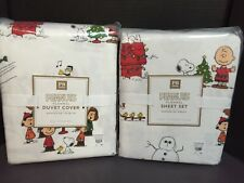 4 pc Flannel Pottery Barn TEEN PEANUTS TWIN DUVET + SHEET Christmas Holiday NEW