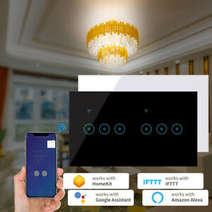 Smart Home Wifi Wall Light Touch Panel Switch App For Alexa Google Home 4-6 Gang