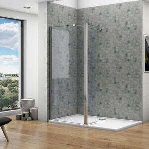 8mm NANO Walk In Wet Room Shower Enclosure Glass Screen & Optional Flipper Panel