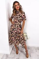 WOMENS LEOPARD PRINT MIDI DRESS