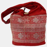 Tasche Beutel Indien Schultertasche Goa Hippie Orient Sari Beuteltasche Rot