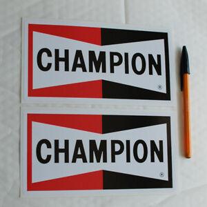 Champion Spark Plug Sticker Decal printed x2 100mm high x 190mm long. rally race