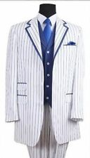 Men's Elegant Luxurious Wool Feel Pinstripes Suit with Solid Vest