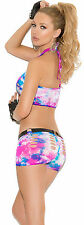 Neon Tie Dye Cami Top w/Booty Shorts Exotic Woman Adult Clothing