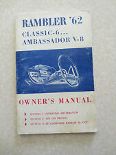 Original 1962 Rambler Classic & Ambassador automobile owner's manual