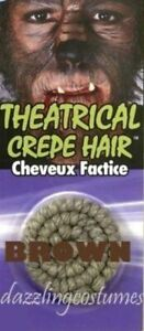 Dark Brown Theatrical Facial Crepe Hair Make up Costume Accessory Werewolf New