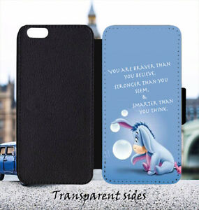 Winnie The Pooh Eeyore Braver Quote Leather Flip Wallet Phone Case Cover