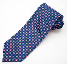 Slim tie - Blue and red stripes with small Christmas trees Notch Mbu2x