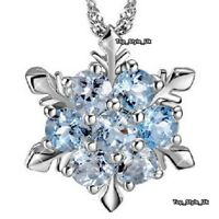 Women Gifts Aquamarine Snowflake Silver 925 Necklace for Her Present Girls GF B2