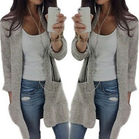 Women Long Sleeve Knitted Sweater Long Chunky Boyfriend Cardigan Coat Jumper VP