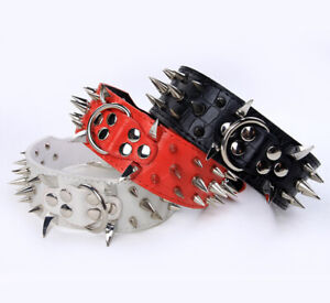 NEW Unisex Leather Spiked Studded Dog Collars Pitbull Mastiff Terrier 10 Colors