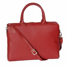 Womens Red Leather Briefcase Business office Bag A4 Files Laptop Shoulder Bag