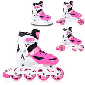 Skates 4in1 Kinder Inline Schlittschuhe Rollschuhe Trisaktes Verstellbar