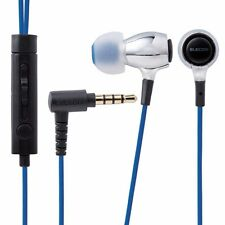 ELECOM EHP-BS100 SV In-Ear Headset for Smartphones 'AQUA' Silver NEW from Japan