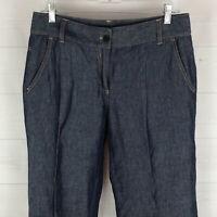 TALBOTS womens size 6 x 31 dark blue linen blend signature flare trouser pants