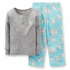 Carter's Girl's 2 Piece Kitty Cat Cotton and Fleece Pajama Set, Size 3T