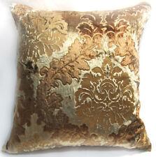 Wa02a Brown Gold Print Damask Velvet Cushion Cover/Pillow Case *Custom Size*