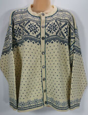 Dale of Norway Womens XL Nordic Blue Cream Wool Cardigan Sweater Button Front