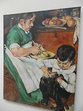 GRANDMA &BOY IN KITCHEN DOING HOUSE WORK-OIL ON CANVAS- SIGNED- KNIPE '89-30X24