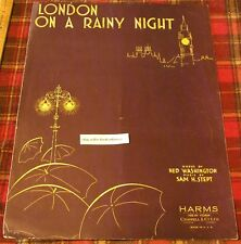 LONDON ON A RAINY NIGHT 1934 Sheet Music Vintage Song Book Ned Washington