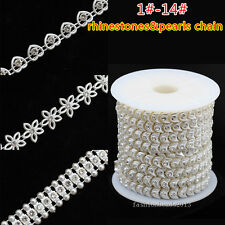 1-43# Acrylic pearl chain wedding costume decor rhinestones trims jewelry crafts