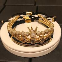 Anil Arjandas Luxury Cubic Zirconia CZ Ball Crown Braided Charm Bracelet for Men