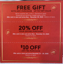 Bath And Body Works Coupons Gift With Purchase 20% Off Purchase $10 Off $40