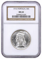 1916 Portugal Silver 50 Centavos NGC MS65 SKU39292