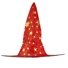 Lux Accessories Halloween Red See Through and Gold Tone Star Witch Hat