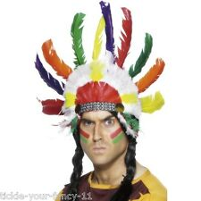Men's Indian Headdress Sitting Bull Wild West Fancy Dress Multi Coloured Stag Do