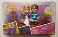 New Disney Princess Rapunzel/Flynn Rider Petite Set Dolls and Boat. Ages 3+