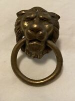 Vintage Brass Lion Head with Ring Drawer Pull Cabinet Knob